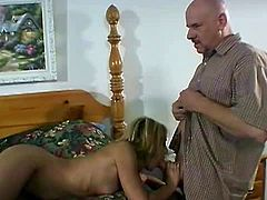 Pornstar sex clip will make you jizz at once. Horny black dude jerks off his cock while watching the way slutty blond wife sucks and rides her husband's still strong but old cock on the wide bed.