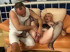 This old woman is horny as hell and ready to take these sex toys in her juicy snatch. Check out this hot sex video now and enjoy the show!