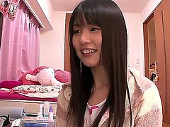 Innocent looking naive black haired japanese teen Tsubomi with natural boobies and cute ass in provocative nightgown gets filmed in point of view all over the place in kinky sofcore.