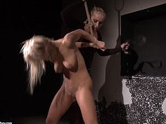 Two blond haired chicks are mad about bondage. Check out these torrid nymphos in 21 Sextury xxx clip. Kinky blondie with antural tits is tied up with ropes and gets her pussy rubbed. Then slim dominant gal takes a huge dildo to fuck her wet cunt.
