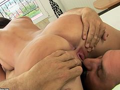 Pretty brunette Kendra gives a hot blowjob in 69 position