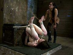 What an action is this lesbian BDSM is about! Pretty girls are in perversions and Juliette March gets dominated by a severe bitch Isis Love.