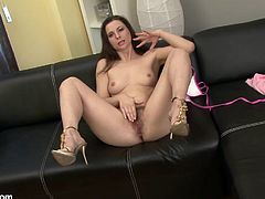 A dirty mature whore gets naked for the camera and fucking inserts a hard toy in her pink wet pussy, hit play and check it out right here!