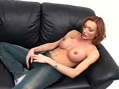 A horny-ass tranny whips out her big-ass cock and jerks off for the camera, hit play and fucking check it out right here, it's fucking awesome!