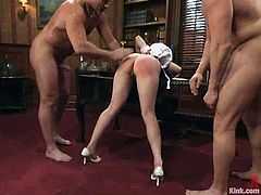 Lorelei Lee is the lovely blonde getting a hardcore domination and bondage fuck where she's tied up and banged hard by two guys in an office.