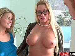 Lusty filthy heavy chested blonde milf Jennifer Best with provocative glasses and pearl necklaces enjoys teaching young hot ass blonde slut how to suck her tall handsome boyfriend in pov.