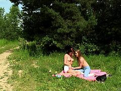 This lesbians couple are enjoying a nice picnic with each other that includes lots of sex and watermelon. First they eat watermelon and then they kiss passionately. Watch them having some outdoor fun and maybe some outdoor wild fucking!