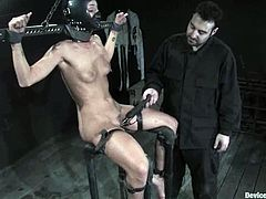 Hot chick gets her hairy pussy and tits tortured with lots of clothespins. After that she also gets bounded and toyed hard.