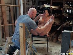 Whorish petite sexy Eva Angelina with big tits and kinky hairy style gets tight firm ass and wet pussy fingered by famous Johnny Sins with shaved head and long cannon.