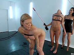 Two sassy and petite chicks Darling and Isis Love are going to torture two smoking hot sex slaves. Real hot BDSM fedmom is going on!