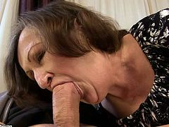 Cum thirsty old slut is eager for cum dessert. She kneels down and sucks meaty cock of one young dude. Watch extremely hot old+young sex video.