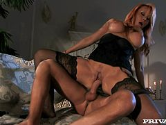 Sizzling blonde mom Antonella Del Lago wearing stockings pleases some guy with a hot blowjob. Then they fuck in missionary position and doggy style and Antonella moans with pleasure.