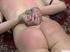 Adorable blonde girl gets tied up and spanked painfully. After that she gets her pussy whipped and fucked hard by James Deen.