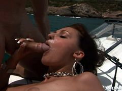 What an amazing and sizzling babe Aletta Ocean is. She was taken for a voyage. For a naked voyage and a huge cock is her entertainer!