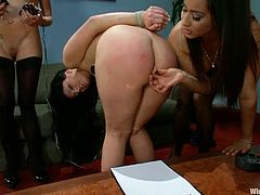 These two employees are going to have fun dominating their annoying boss in this lesbian BDSM femdom threesome with toying and strapon action included.