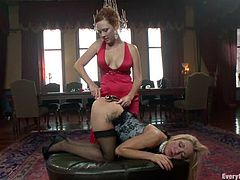 Amy Brooke and Audrey Hollander lie on a couch toying and fingering each others asses. After that they also fist their asses with two hands.