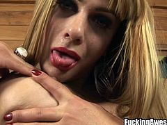 Tranny Luna taunts us with her big round boobs, sensual lips and that hard cock! She knows she's fucking hot and reveals more about her. Luna plays with her hard cock and licks her juicy lips with pleasure and delight. Then, the bitch grabs a red dildo and slowly sucks it while rubbing her cock.