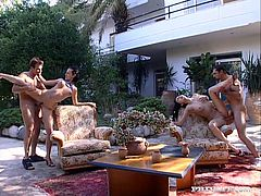 Two brunette chicks, Michelle Wild and Patricia Diamond, are going to enjoy two cocks in a foursome taking place outdoors with DP action included.