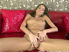 Silvie Deluxe is a sexy brunette temptress ready to flaunt her hot ass while fingering her shaved pink clam into kingdom come.