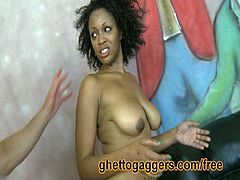 Savannah is a thick ebony ho that likes white cock. She gets slammed hard by two white guys doggy style. Cum inside and check out this insane interracial banging and enjoy!