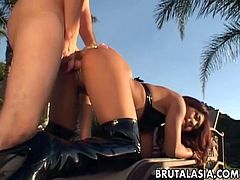 Courtesy of Brutal Asia you can see the naughty and wild Asian brunette babe Lyla Lei as she gets assfucked by the poolside in this awesome free porn video.