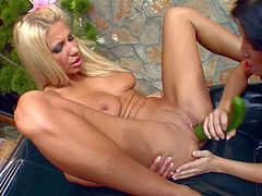 Stunning naked blonde Clara G with sexy spreads her perfect long legs wide in front of curious brunette Mya and gets her pink hole fucked with cucumber. Then these gorgeous lesbians give vaginal fisting a try.