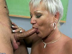 This teacher has great methods of education. She gets down on her knees and shows her student her cock sucking skills. Press play and enjoy the show!