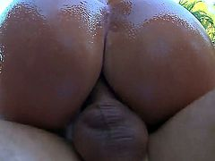 Black haired lusty cougar Nikki Delano with fake tits and french manicure gives head to Mick Blue in backyard in point of view and gets his entire cock up big oiled ass.