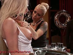 See a vicious blonde getting tied up and gangbanged at a hot party while sharing hot lesbian pleasures with her busty friend.