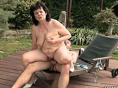 Ruined slack brunette granny gets her hairy pussy drilled hard in doggy style before she clings to thin hard cock to give a head. Later she tops it for a ride in reverse cowgirl style outdoor.