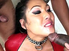 Chick from Asia Mya Minx is going to have a lot of enjoyment with black man D-Snoop and second black dude. She is going to give really unforgettable fellatios to these dudes.
