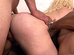 Voracious hooker with saggy natural boobs and fat ass is fucking furiously in hardcore porn scene. She serves three aroused studs at once. Bizarre XXX free video presented by Fame Digital.