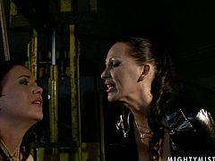 Rapacious mistress Clarise knows how to bring pleasure through pain. She ties a curvy brunette doxy before she starts slapping her pussy with a lash in sizzling hot BDSM sex video by 21 Sextury.