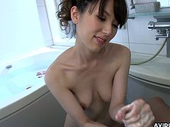 Cute asian hottie is a true master in giving blowjob and swallowing warm jizz