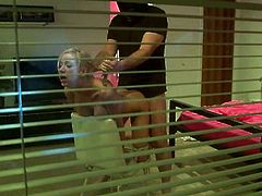 Hot blonde Kaylee Hilton gets caught by masked robber Mark Davis. Mark face-fucks the cutie and then pounds her nice pussy in missionary position.