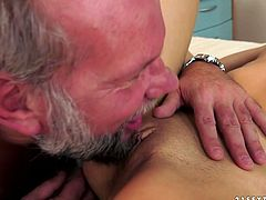 Whorish brunette MILF gets her muf dived by insatiable grey-haired daddy before she pleases him with a thorough blowjob. Later she tops him for a ride reverse.