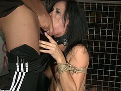 Spoiled brunette is bound hand and foot. Horny dude grabs her by her silky jet black hair and pulls her towards his rigid cock so she can blow him. Make sure you don't miss this hot BDSM sex video!