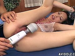 Cock sucking hairy pussy Asian whore Tomoe Hinatsu will give you one kinky show today. After getting that cunt fingered like no tomorrow, her mouth gets busy playing with that hard cock all the way her throat.