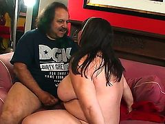 Big beautiful adian Kelly Shibari with big tits and chubby belly gets fingered and boned deep by long haired famous former super porn star Ron Jeremy with huge meaty sausage.