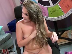 Nice brown-haired babe with slim body toys her pussy with a vibrator while a guy fucks her. Then this babe also gets her pussy licked.