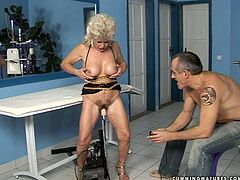 Who needs a man when you've got a fucking machine? Sex-starved mature slut gets her hairy snatch drilled hard by this sex machine.