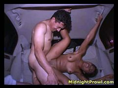 Lusty Asian hooker with small tits fucks bad on a back seat in a truck