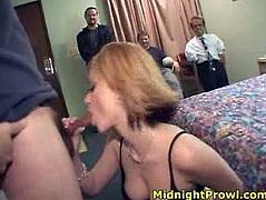 Well, this short haired blondie is a great pro in giving a solid blowjob. So don't pay attention to her pale small tits and see the way she sucks a dick in steamy Pornstar sex clip to cum at once.