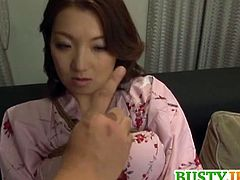 Busty Japanese mom gets gang fucked by these horny dudes. They use their wet toys as she is tied for one horny encounter. She gets lavished with tasty cock juice.