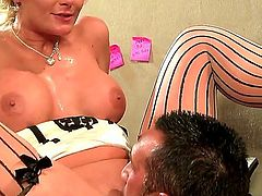 Turned on experienced stud Keiran Lee gets meaty cannon sucked good by lusty blonde milf Phoenix Marie with huge tits and round bouncing ass and fucks her to loud orgasm.
