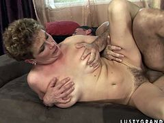 Naughty granny with hairy clam is squeezing her tits while getting rammed deep in her cunt from behind. Filthy old young fuck scene presented by 21 Sextury porn productions studio.