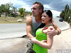 Petite Anastasia Brill gets fucked hard in the street