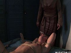 Skanky brunette amateur lies on her back bandaged giving an upside down blowjob to a dildo before a rapacious domina uses it to poker her cunt in BDSM-involved sex video by 21 Sextury.