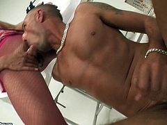 Dude enjoys sweet ass hole and meaty cock of shemale nurse. Ladyboy sits on his face and enjoys his playful tongue exploring her balls and anus.