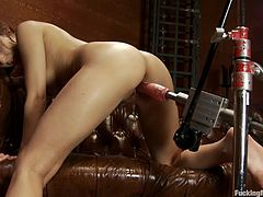 Charming chick Lexi Bloom is getting naughty in her room. She rubs her hot pussy passionately and then gets it smashed by a fucking machine.